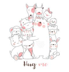 Cute baby animals cartoon hand drawn style vector