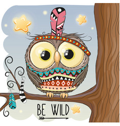 Cute cartoon owl on a branch vector