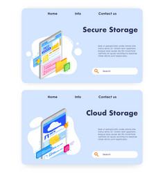 data storage website landing page template vector image
