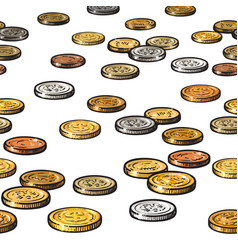 different coins on white background seamless vector image