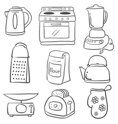 Doodle of kitchen set hand draw style vector