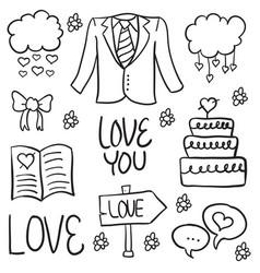 Doodle of wedding element vector