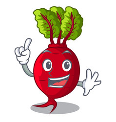 Finger whole beetroots with green leaves cartoon vector