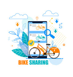 Flat banner bike sharing on white background vector
