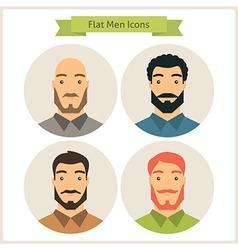 Flat Men Characters Circle Icons Set vector image