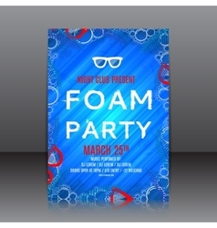 Foam party flyer with palm tree twigs vector image