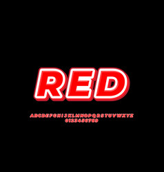 Font style red with white line 3d design templates vector