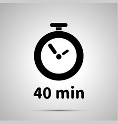 Forty minutes timer simple black icon with shadow vector