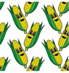 funny cartoon vegetable corn seamless pattern vector image