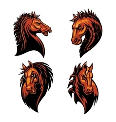 Furious horse head heraldic icons set vector