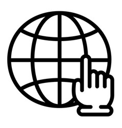 global hand click icon outline style vector image