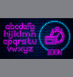 Glowing neon fast payments icon on brick wall vector