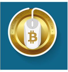 golden bitcoin white mouse blue background vector image