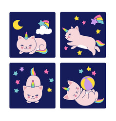 good night cards with sleeping cats vector image