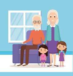 grandparents with grandchildren in the livingroom vector image