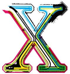 Grunge colorful font Letter X vector image