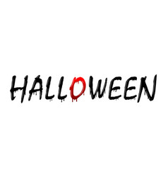 halloween text black scary design isolated white vector image