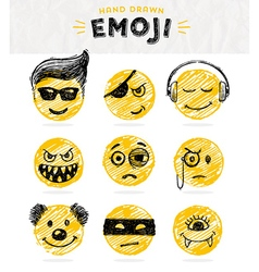 hand drawn set emoticons vector image