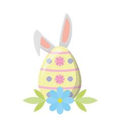 happy easter egg ears flower vector image