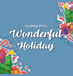Happy merry christmas card style vector