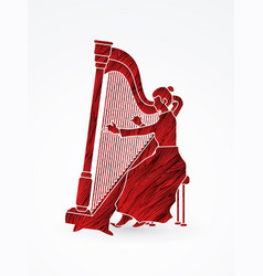 Harp player musician play lyre vector
