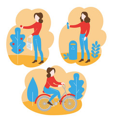 healthy lifestyle environment care vector image