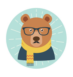 Hipster bear with glasses mustache and scarf vector