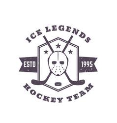 hockey team vintage emblem print vector image