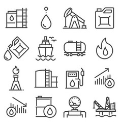 industry oil gray line icon set vector image