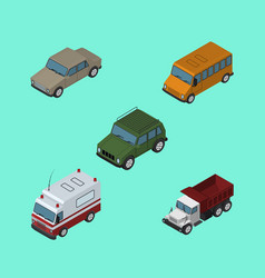 Isometric car set of first-aid freight autobus vector