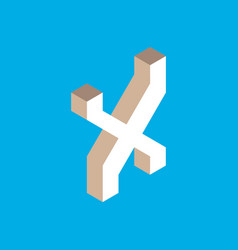 isometric letter x vector image