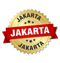 Jakarta round golden badge with red ribbon vector image