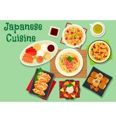 Japanese cuisine dishes icon for menu design vector image