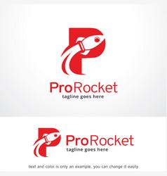 Letter p rocket logo template design emblem vector