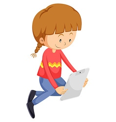 Little girl looking at the tablet vector