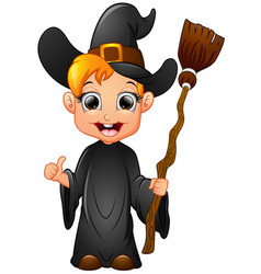 little witch cartoon holding broom vector image