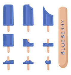 logo for natural blueberry ice cream vector image