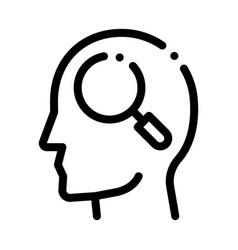 Magnifier glass in man silhouette mind icon vector