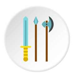 Medieval weapons icon circle vector