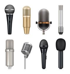 microphones realistic audio studio equipment for vector image