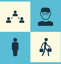 person icons set collection of network member vector image
