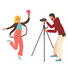 photo studio woman with flower camera vector image