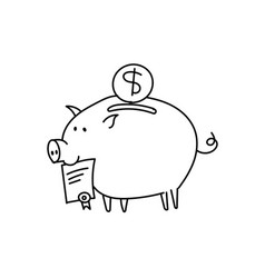 Piggy bank scetch bribe pig with a document in vector