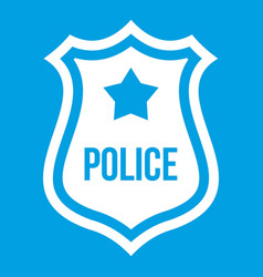 Police badge icon white vector