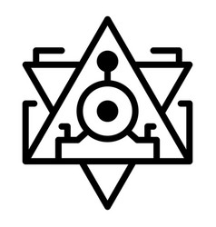 Pyramid alchemy icon outline style vector