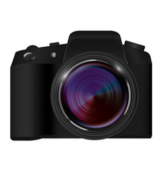 Real dslr camera on a white background vector