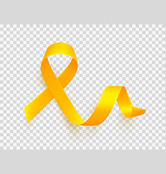 Realistic gold ribbon world childhood cancer vector