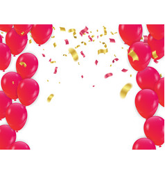 Red balloons and confetti concept design vector