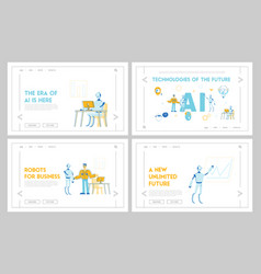 robots and people work together website landing vector image
