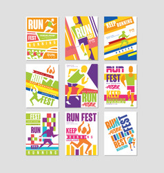 Run fest posters set running marathon sport and vector
